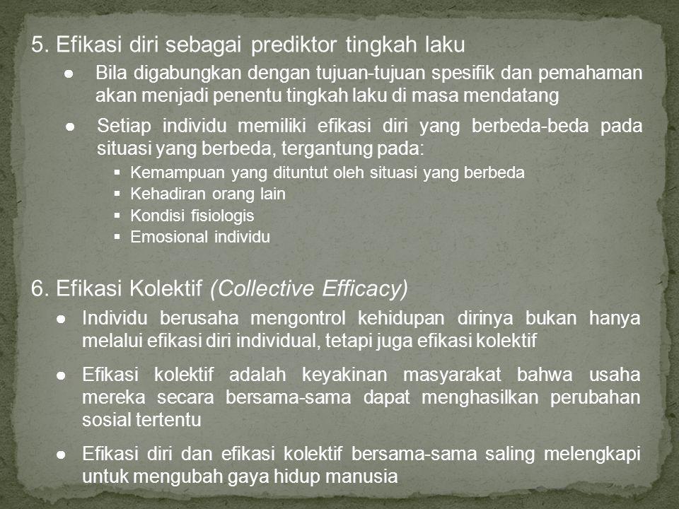 5. Efikasi diri sebagai prediktor tingkah laku