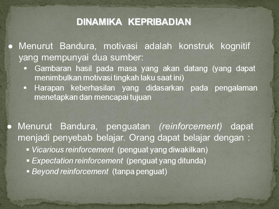 DINAMIKA KEPRIBADIAN ● Menurut Bandura, motivasi adalah konstruk kognitif yang mempunyai dua sumber: