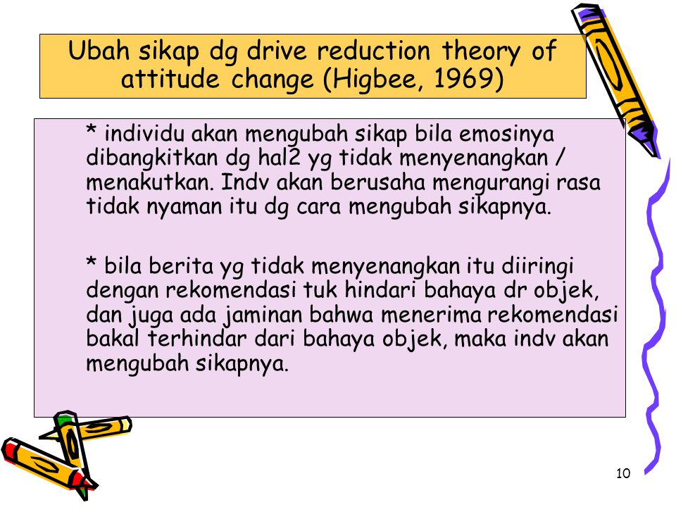 Ubah sikap dg drive reduction theory of attitude change (Higbee, 1969)