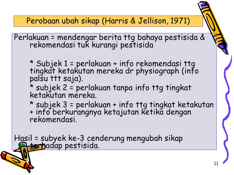 Perobaan ubah sikap (Harris & Jellison, 1971)