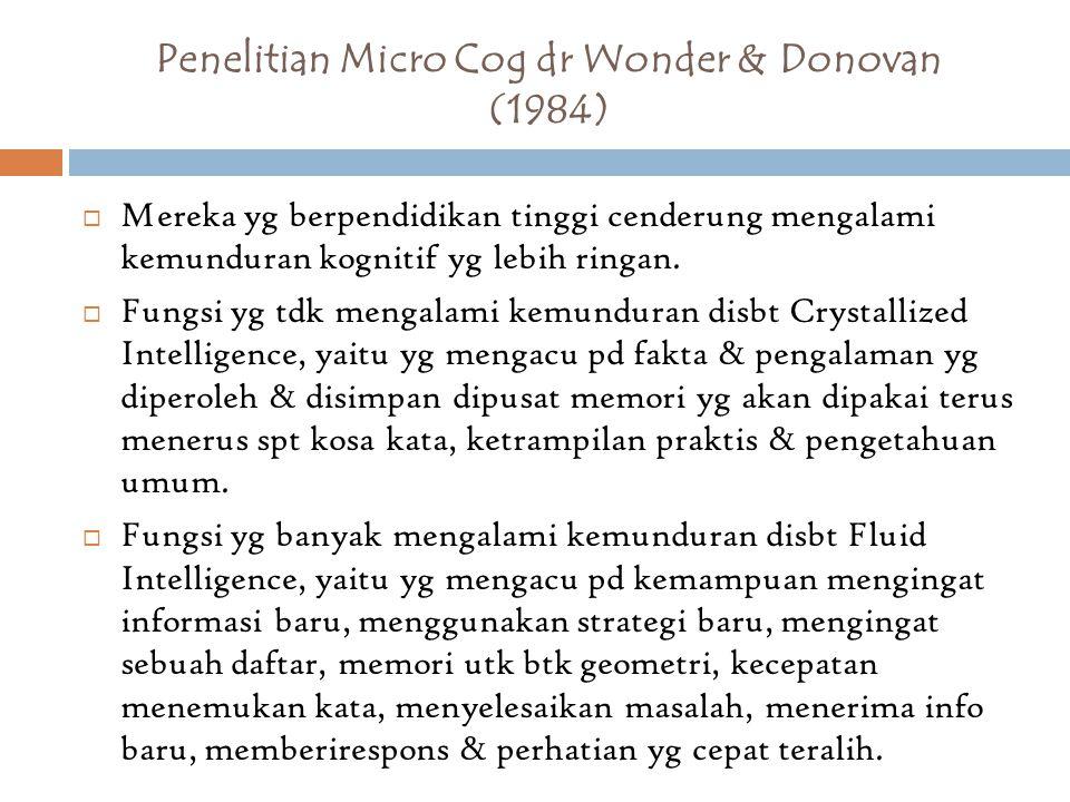 Penelitian Micro Cog dr Wonder & Donovan (1984)