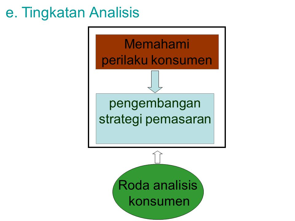 e. Tingkatan Analisis Memahami perilaku konsumen pengembangan