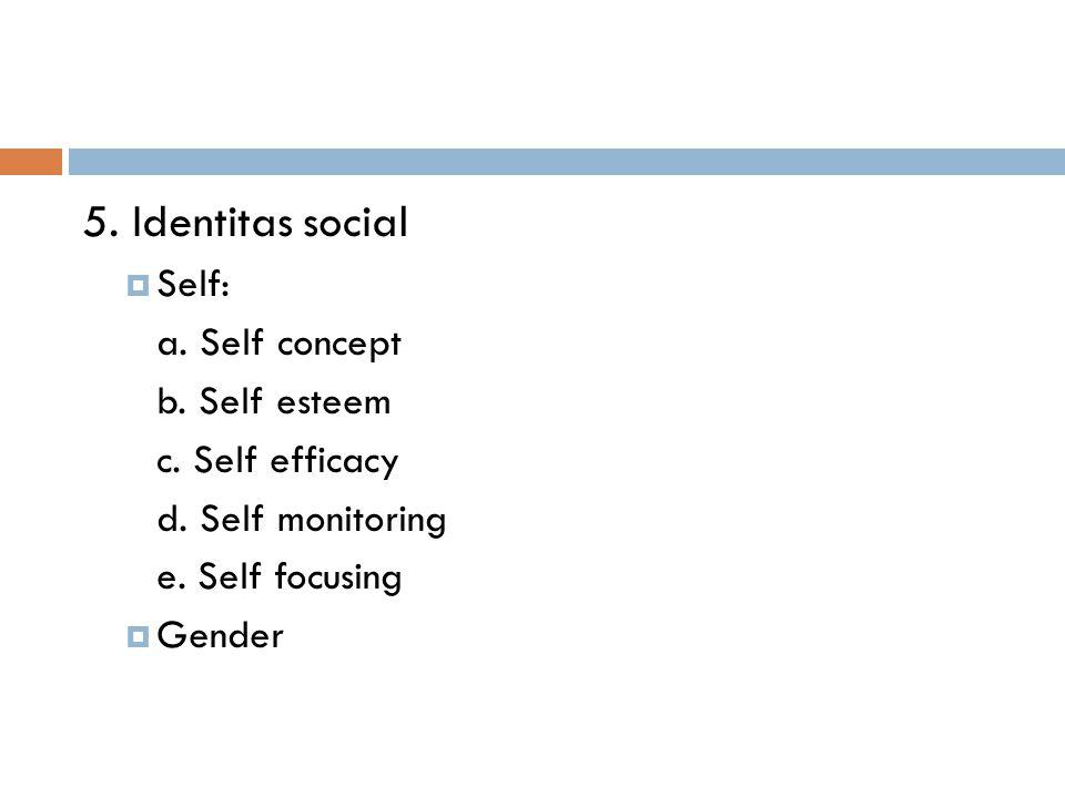 5. Identitas social Self: a. Self concept b. Self esteem