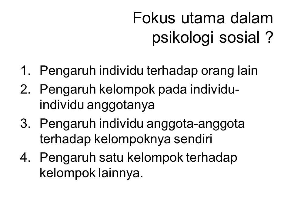 Fokus utama dalam psikologi sosial