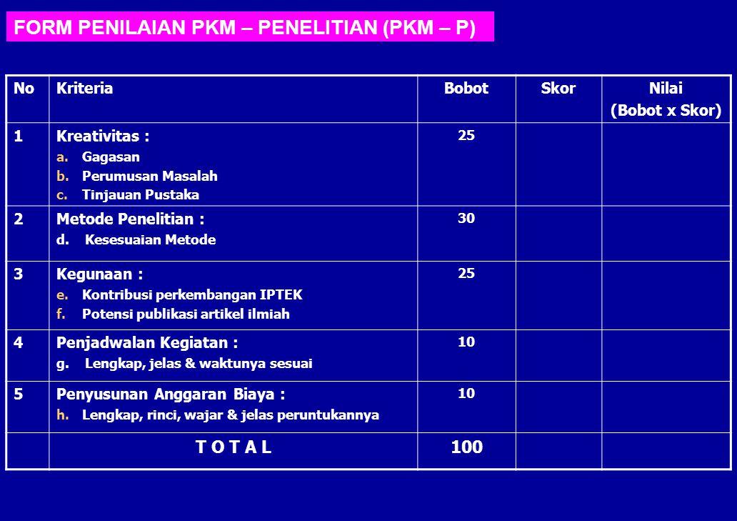 FORM PENILAIAN PKM – PENELITIAN (PKM – P)