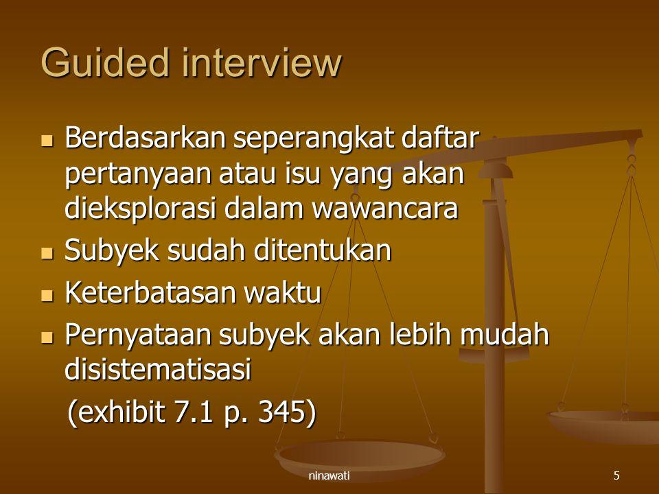 Guided interview Berdasarkan seperangkat daftar pertanyaan atau isu yang akan dieksplorasi dalam wawancara.