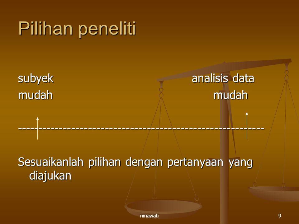 Pilihan peneliti subyek analisis data mudah mudah