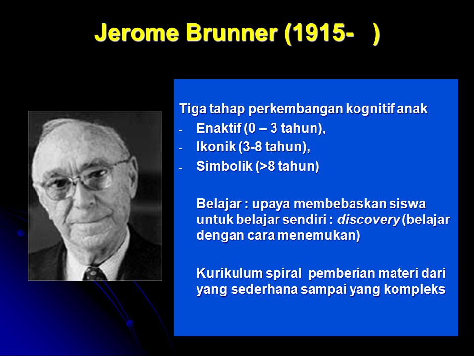 Jerome Brunner (1915- ) Tiga tahap perkembangan kognitif anak