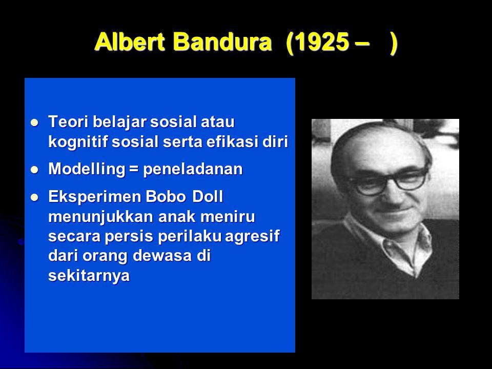 Albert Bandura (1925 – ) Teori belajar sosial atau kognitif sosial serta efikasi diri. Modelling = peneladanan.