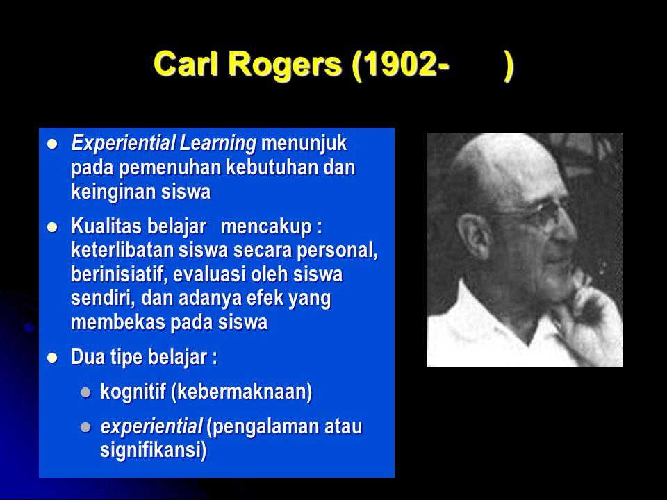 Carl Rogers (1902- ) Experiential Learning menunjuk pada pemenuhan kebutuhan dan keinginan siswa.