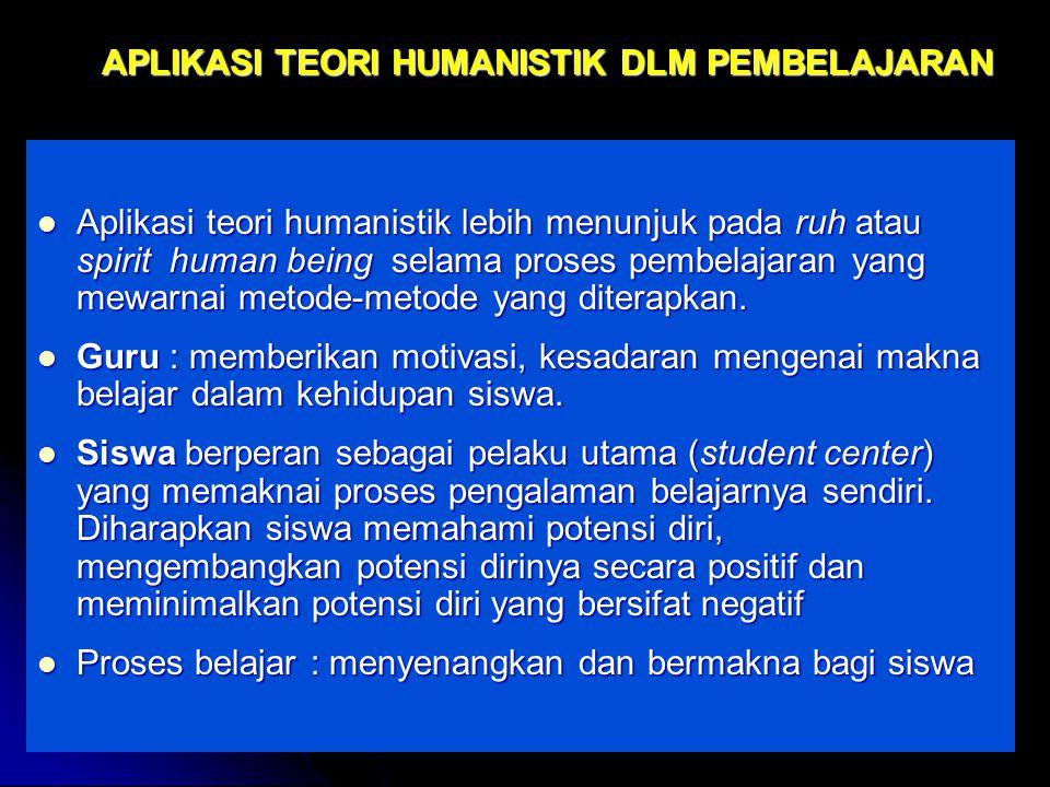 APLIKASI TEORI HUMANISTIK DLM PEMBELAJARAN