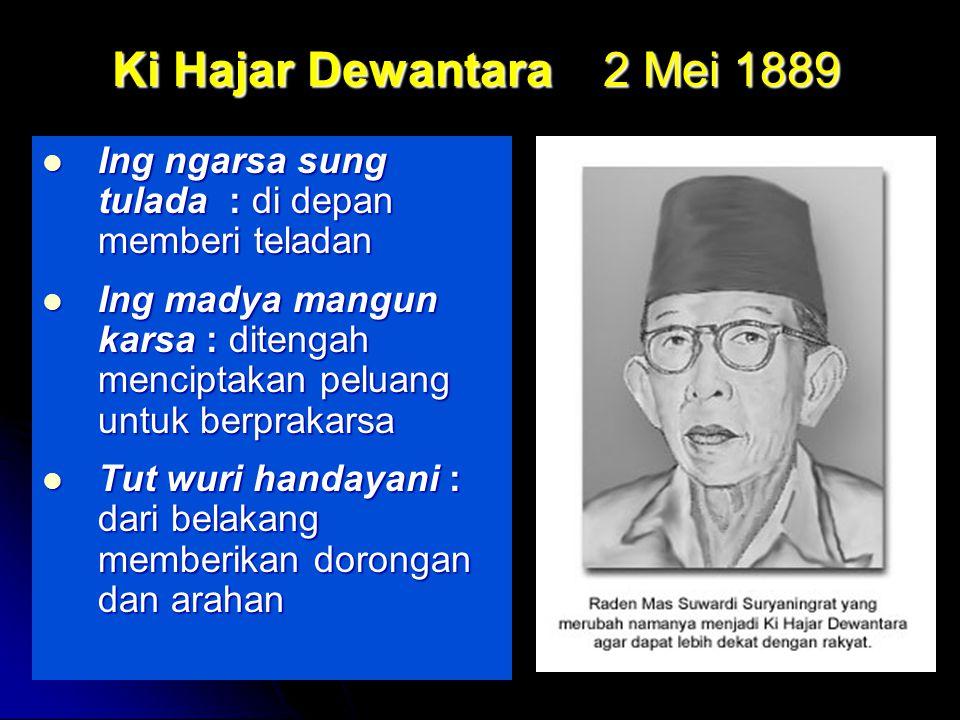 Ki Hajar Dewantara 2 Mei 1889 Ing ngarsa sung tulada : di depan memberi teladan.