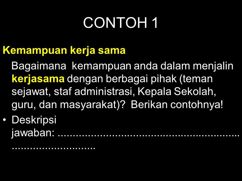 CONTOH 1 Kemampuan kerja sama