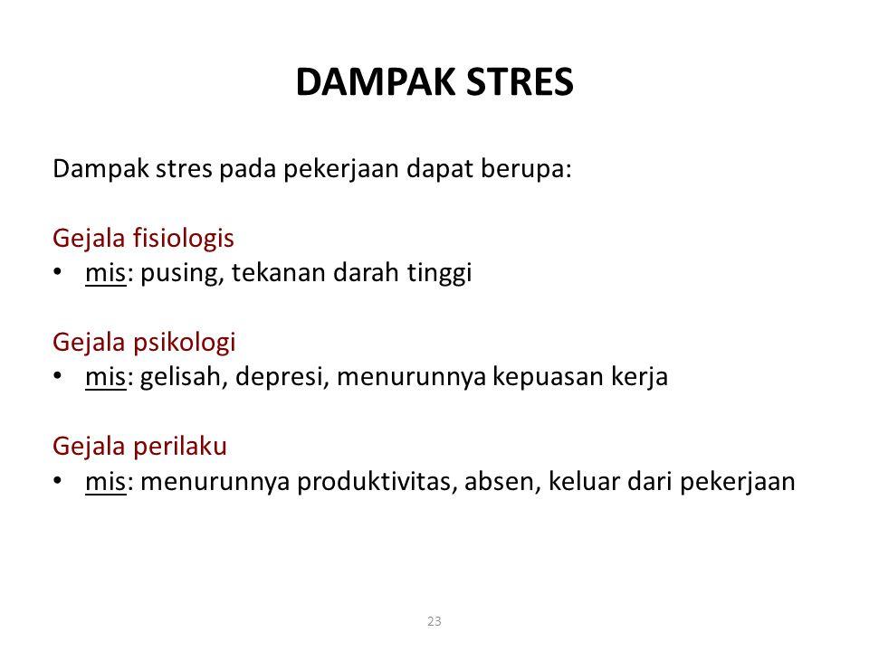 DAMPAK STRES Dampak stres pada pekerjaan dapat berupa: