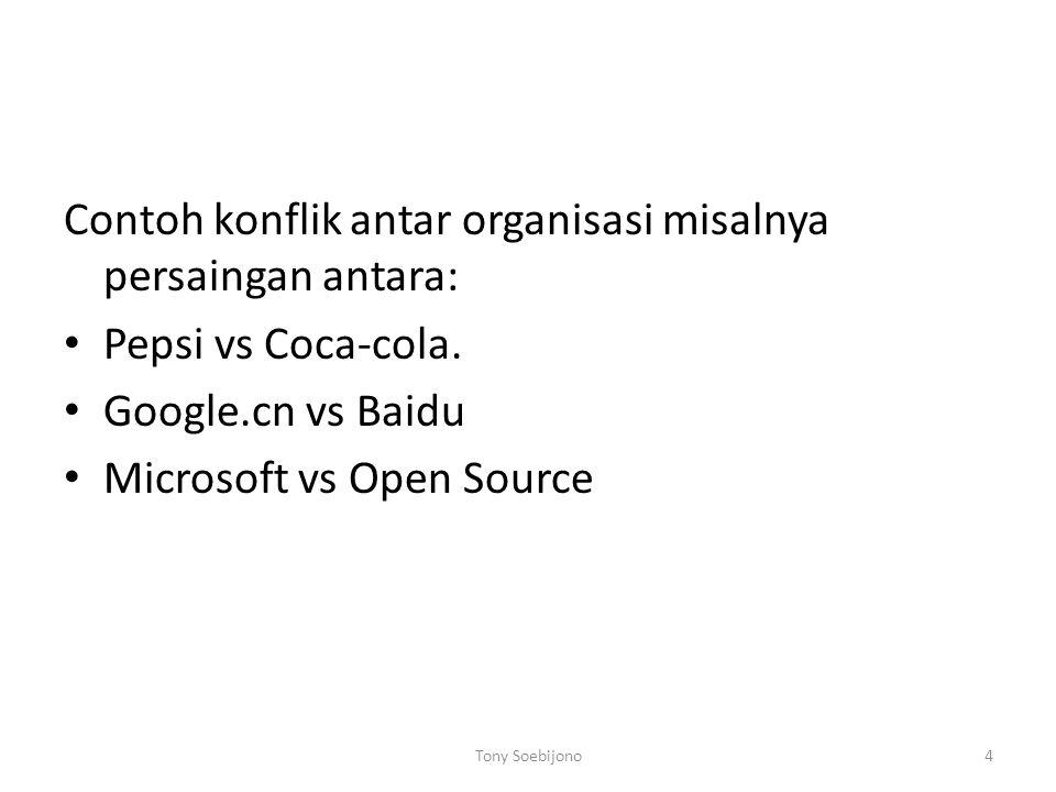 Contoh konflik antar organisasi misalnya persaingan antara:
