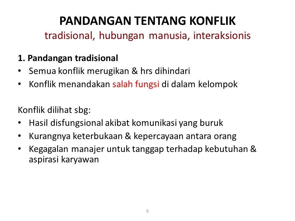 PANDANGAN TENTANG KONFLIK tradisional, hubungan manusia, interaksionis