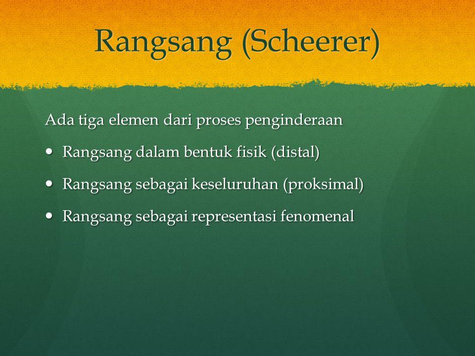 Rangsang (Scheerer) Ada tiga elemen dari proses penginderaan