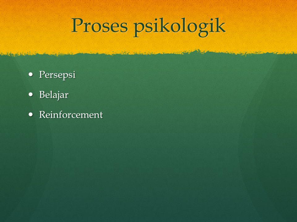 Proses psikologik Persepsi Belajar Reinforcement