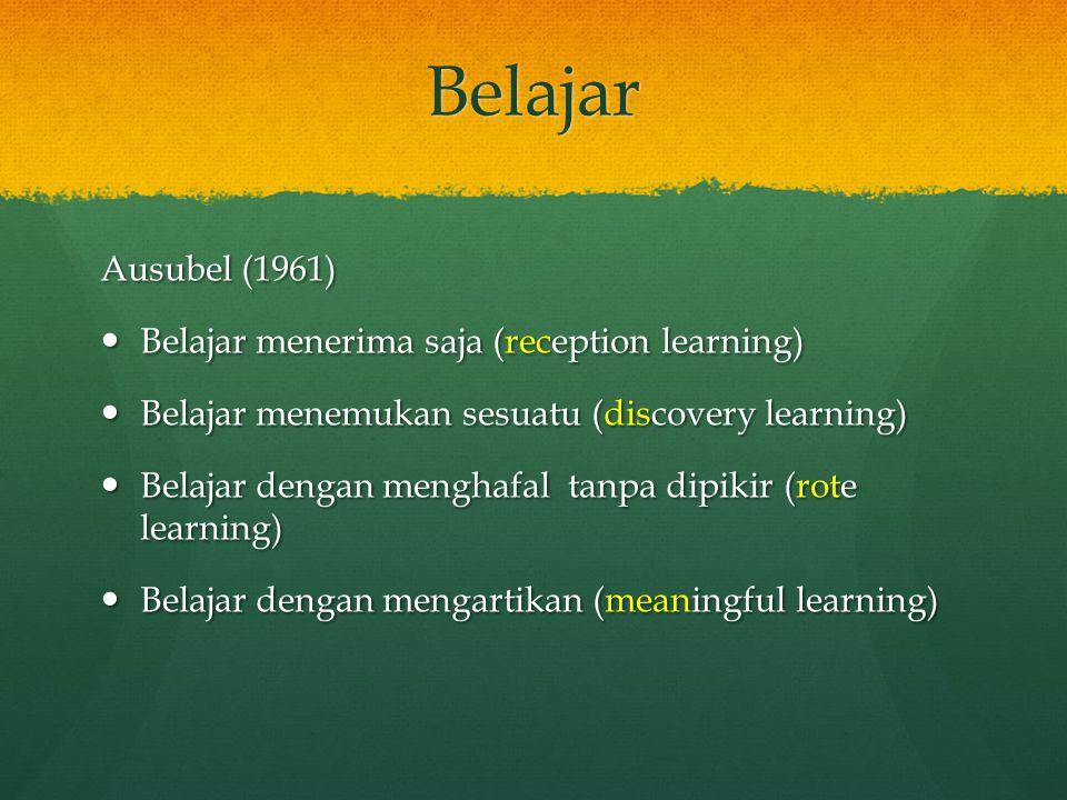 Belajar Ausubel (1961) Belajar menerima saja (reception learning)
