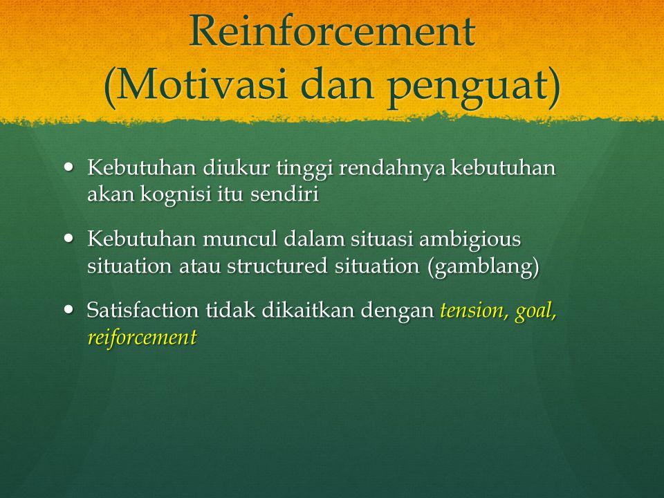 Reinforcement (Motivasi dan penguat)
