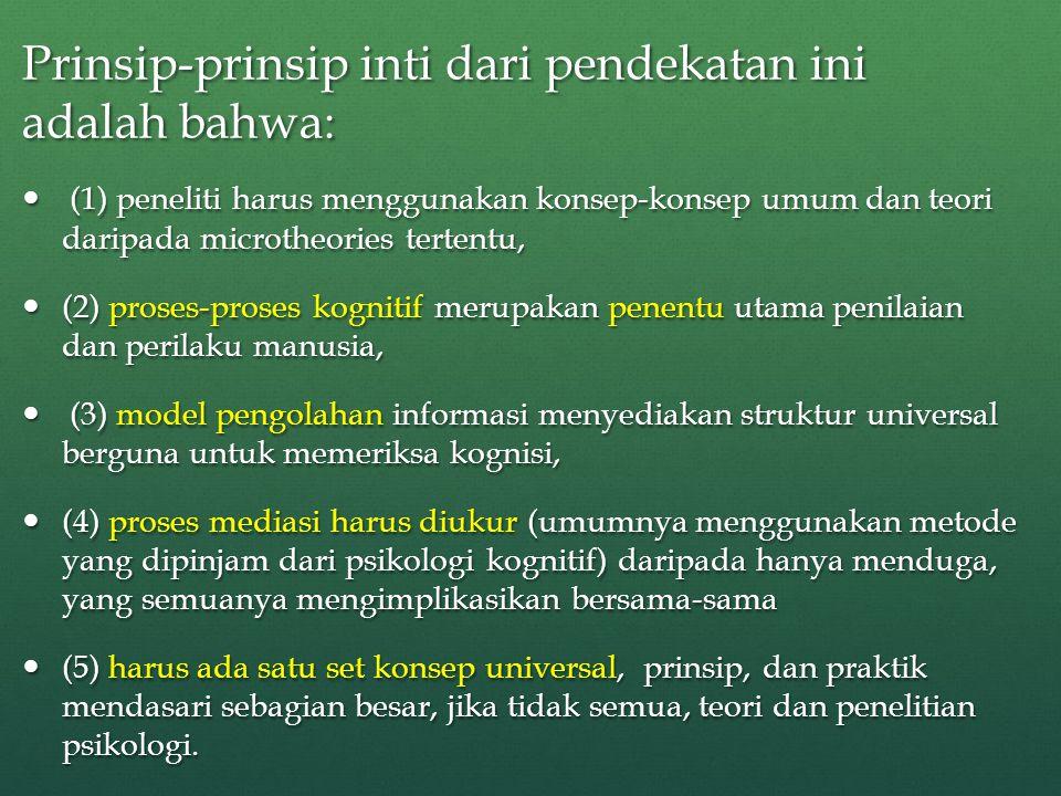 Prinsip-prinsip inti dari pendekatan ini adalah bahwa: