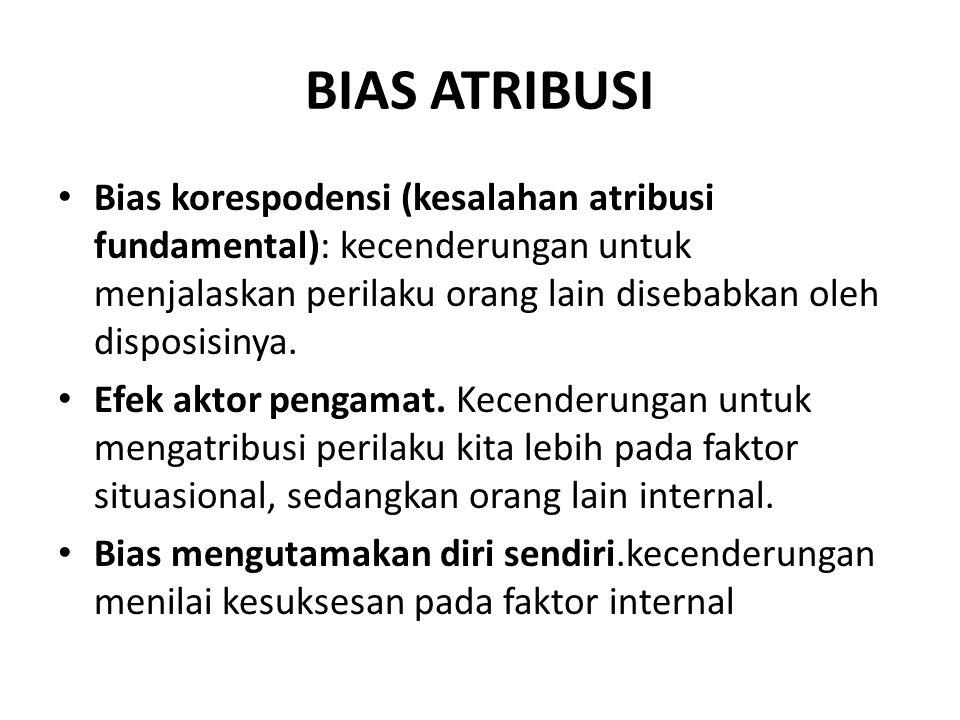 BIAS ATRIBUSI Bias korespodensi (kesalahan atribusi fundamental): kecenderungan untuk menjalaskan perilaku orang lain disebabkan oleh disposisinya.
