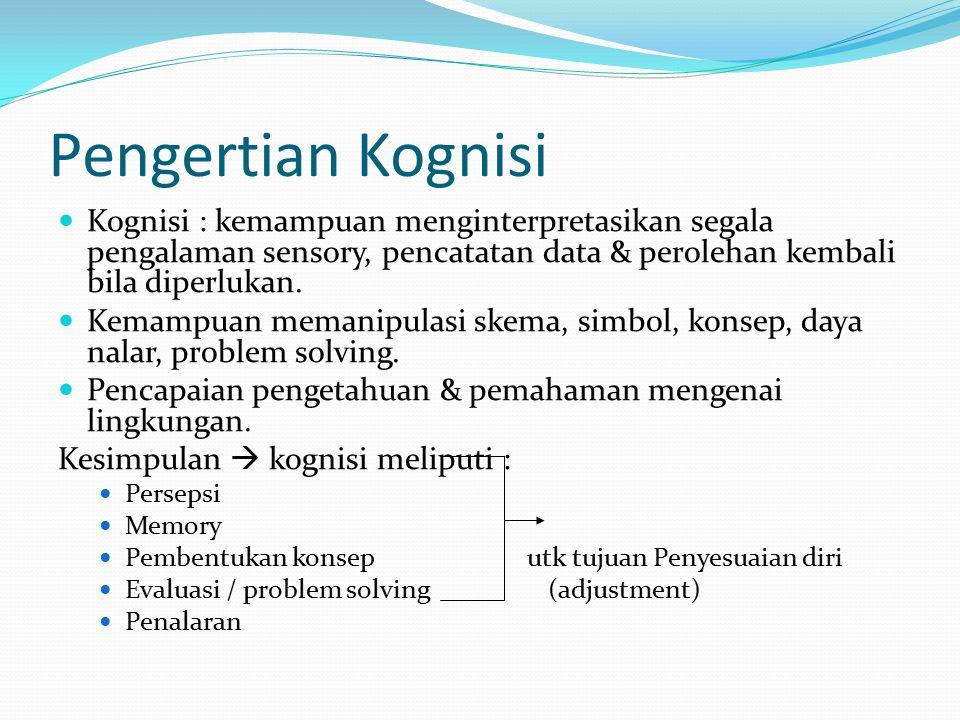 Pengertian Kognisi Kognisi : kemampuan menginterpretasikan segala pengalaman sensory, pencatatan data & perolehan kembali bila diperlukan.