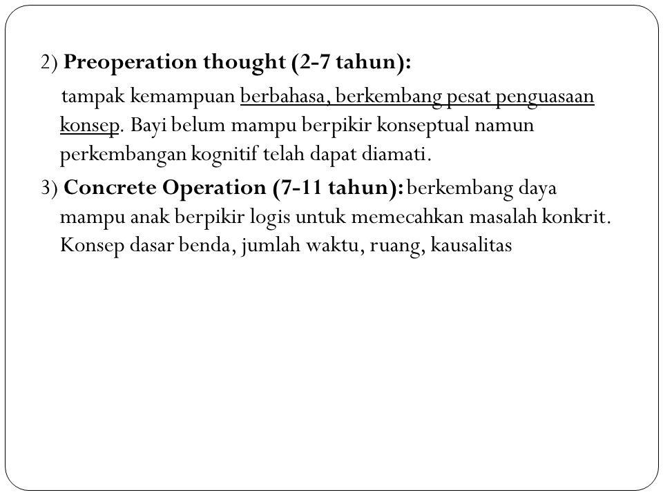2) Preoperation thought (2-7 tahun): tampak kemampuan berbahasa, berkembang pesat penguasaan konsep.