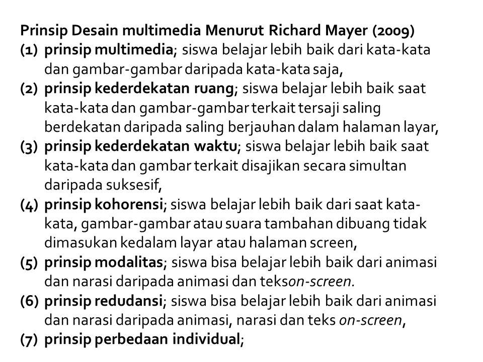 Prinsip Desain multimedia Menurut Richard Mayer (2009)