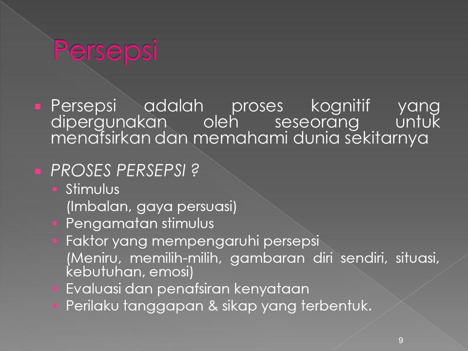 Persepsi Persepsi adalah proses kognitif yang dipergunakan oleh seseorang untuk menafsirkan dan memahami dunia sekitarnya.