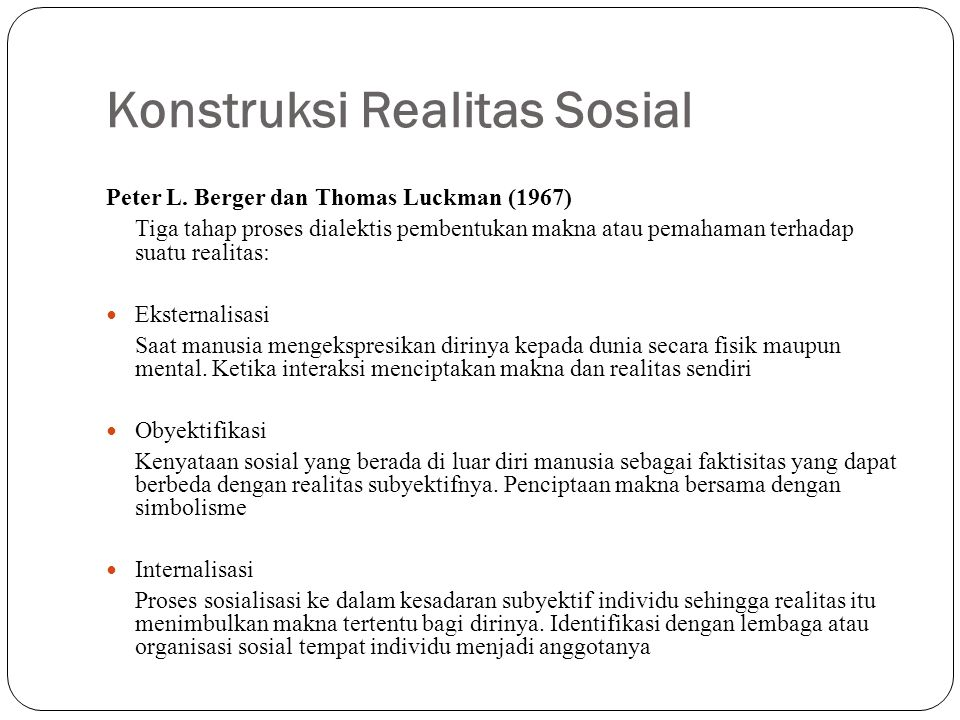 Konstruksi Realitas Sosial