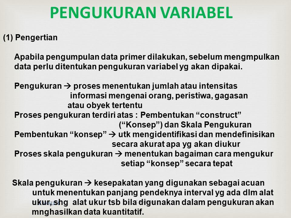 PENGUKURAN VARIABEL (1) Pengertian