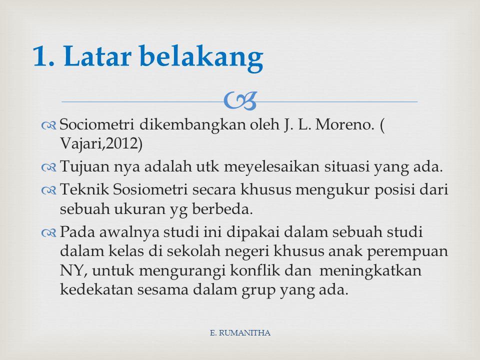 1. Latar belakang Sociometri dikembangkan oleh J. L. Moreno. ( Vajari,2012) Tujuan nya adalah utk meyelesaikan situasi yang ada.