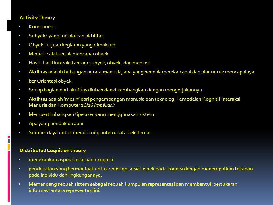 Activity Theory Komponen : Subyek : yang melakukan aktifitas. Obyek : tujuan kegiatan yang dimaksud.