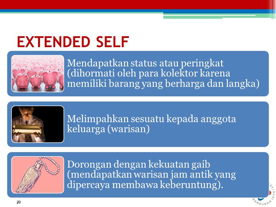 EXTENDED SELF Mendapatkan status atau peringkat (dihormati oleh para kolektor karena memiliki barang yang berharga dan langka)