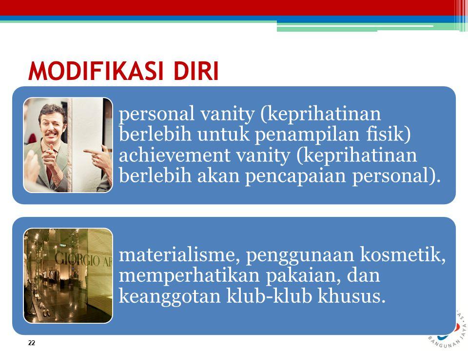 MODIFIKASI DIRI personal vanity (keprihatinan berlebih untuk penampilan fisik) achievement vanity (keprihatinan berlebih akan pencapaian personal).