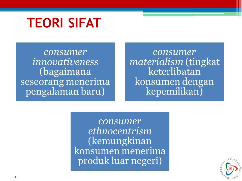 consumer innovativeness (bagaimana seseorang menerima pengalaman baru)