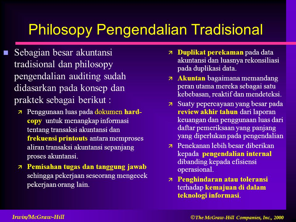 Philosopy Pengendalian Tradisional