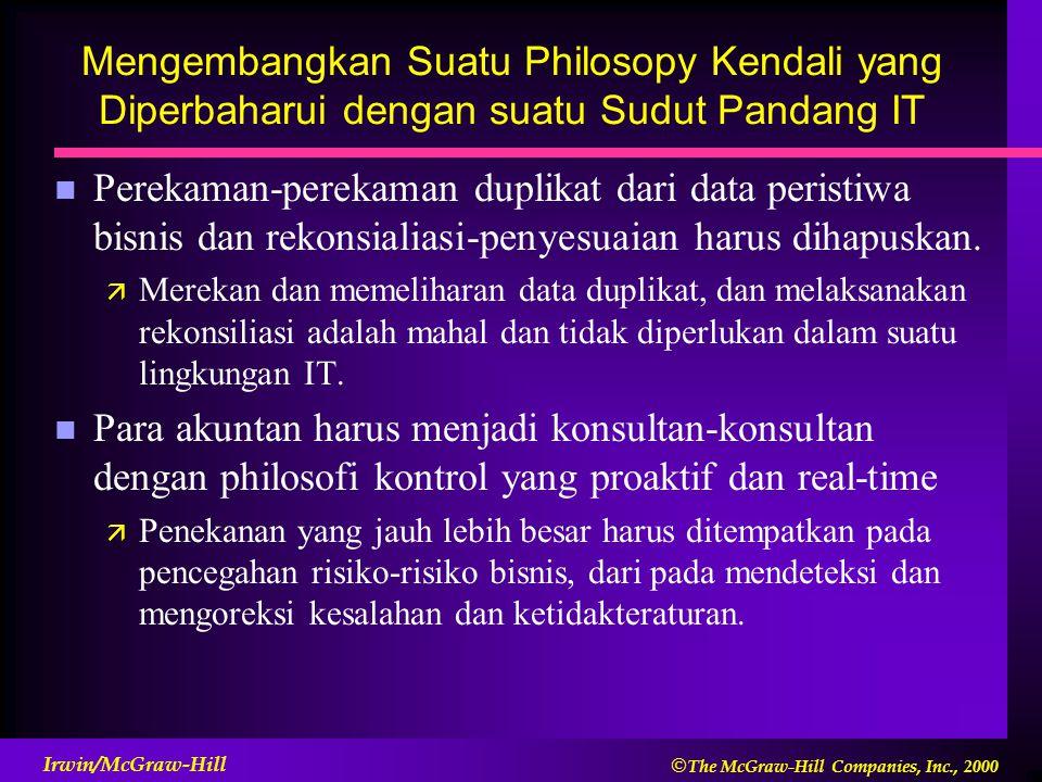Mengembangkan Suatu Philosopy Kendali yang Diperbaharui dengan suatu Sudut Pandang IT