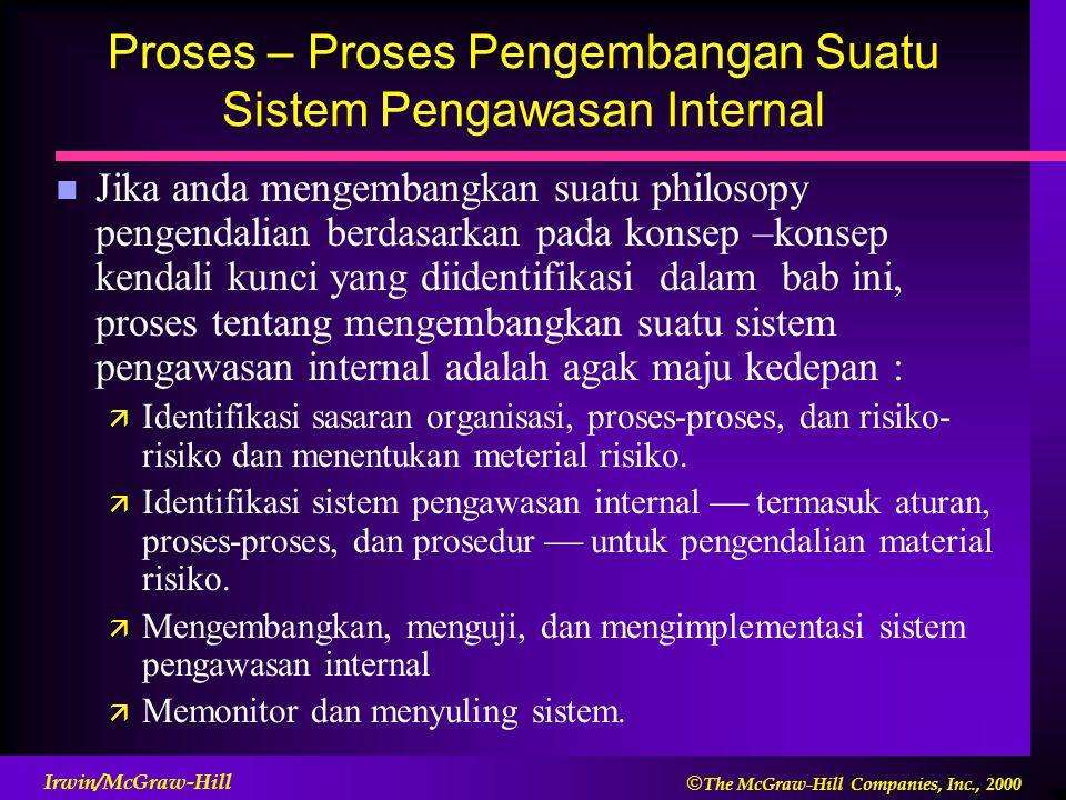 Proses – Proses Pengembangan Suatu Sistem Pengawasan Internal