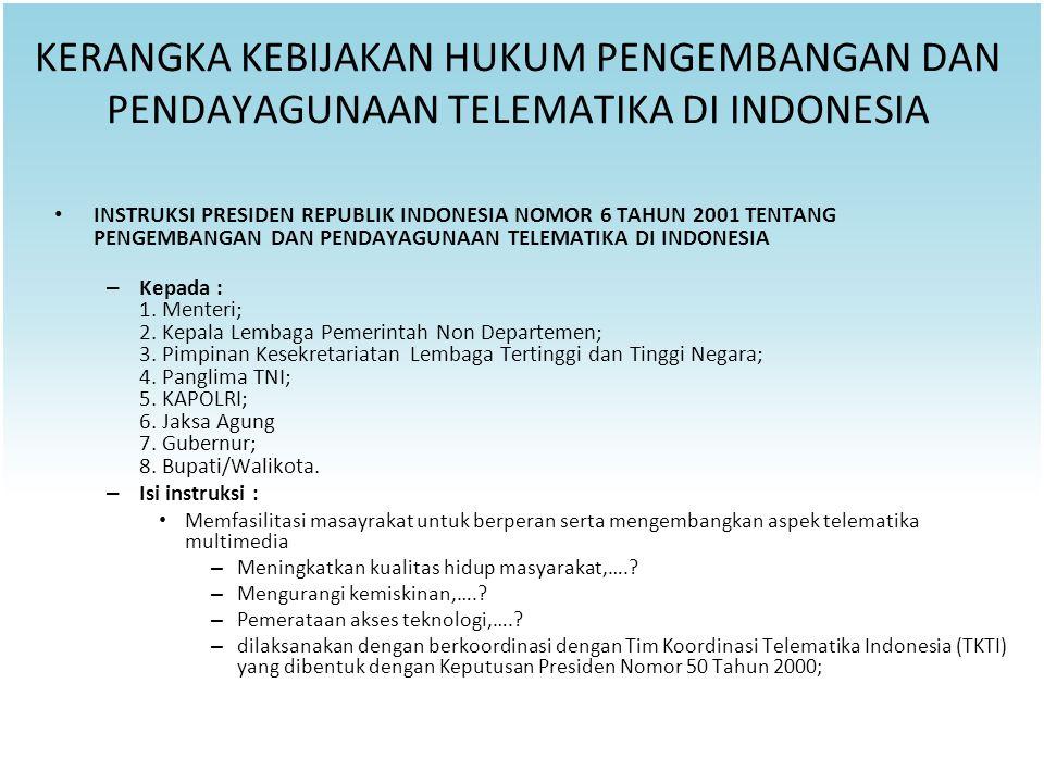 KERANGKA KEBIJAKAN HUKUM PENGEMBANGAN DAN PENDAYAGUNAAN TELEMATIKA DI INDONESIA