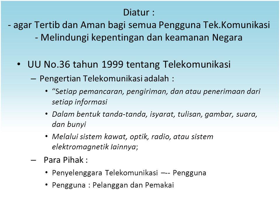 UU No.36 tahun 1999 tentang Telekomunikasi