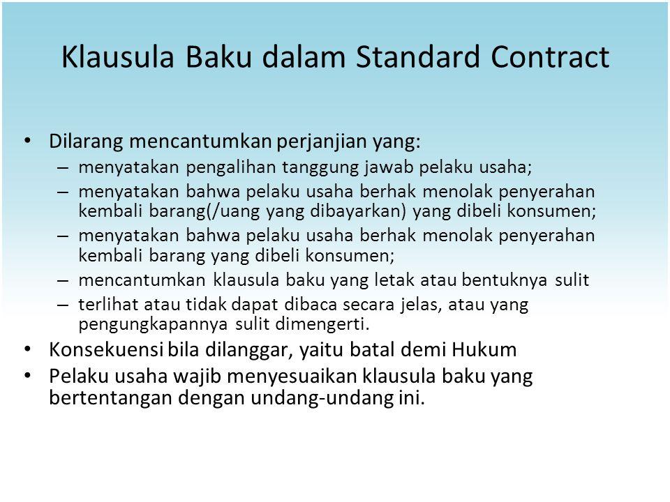 Klausula Baku dalam Standard Contract