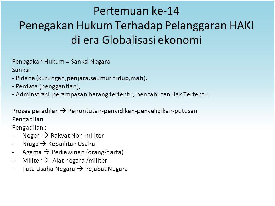 Pertemuan ke-14 Penegakan Hukum Terhadap Pelanggaran HAKI di era Globalisasi ekonomi