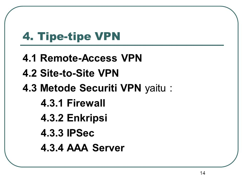 4. Tipe-tipe VPN 4.1 Remote-Access VPN 4.2 Site-to-Site VPN