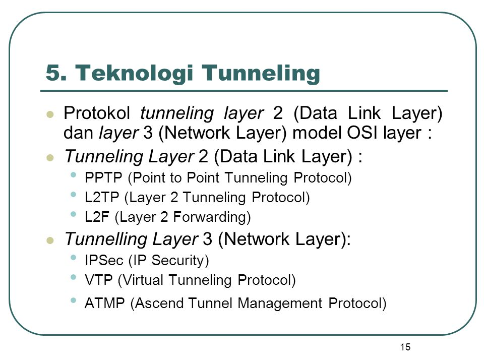 5. Teknologi Tunneling Protokol tunneling layer 2 (Data Link Layer) dan layer 3 (Network Layer) model OSI layer :