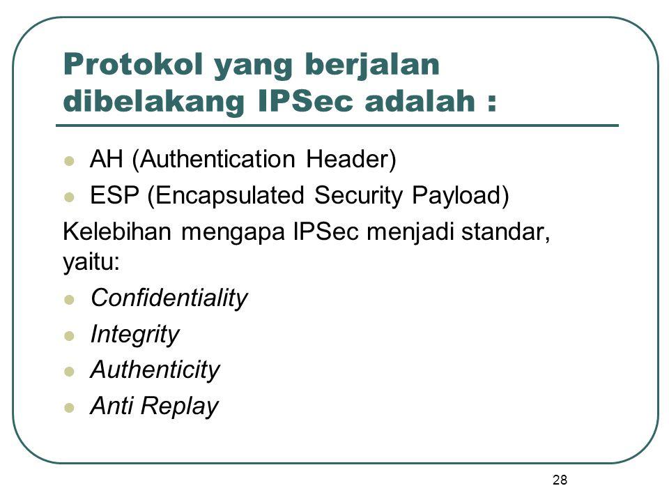 Protokol yang berjalan dibelakang IPSec adalah :