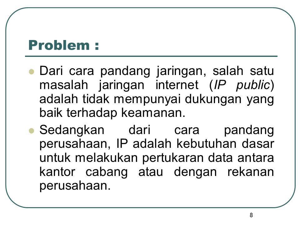 Problem : Dari cara pandang jaringan, salah satu masalah jaringan internet (IP public) adalah tidak mempunyai dukungan yang baik terhadap keamanan.