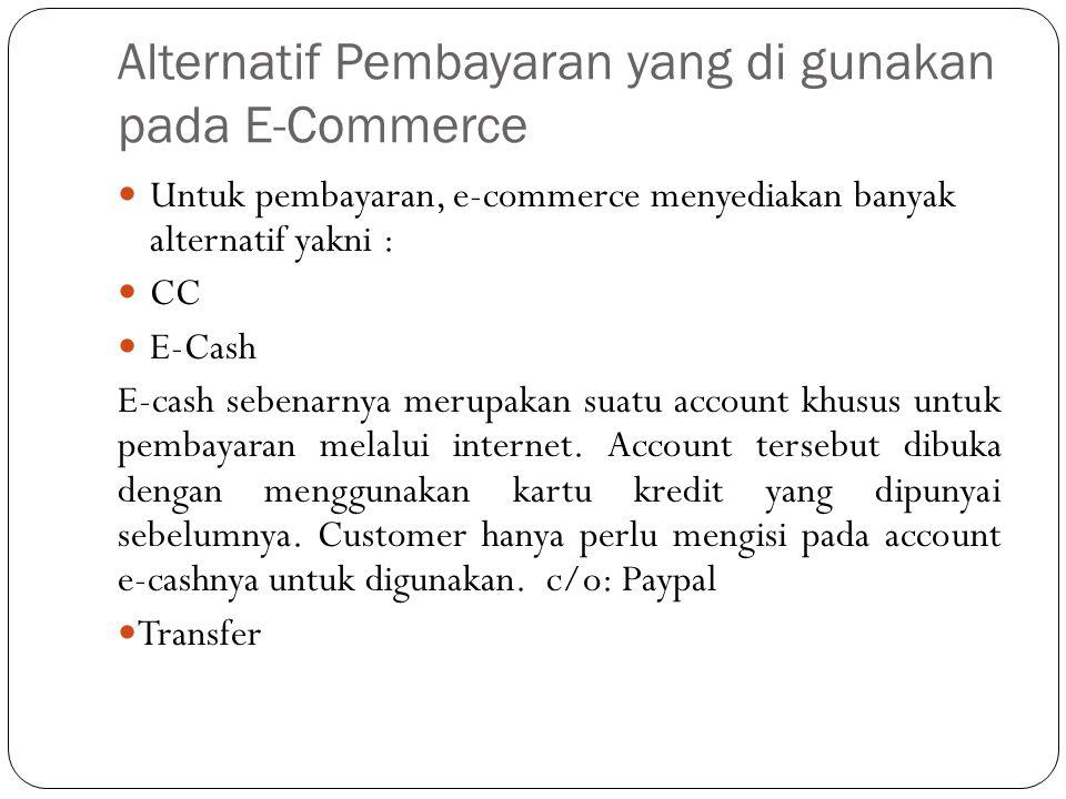 Alternatif Pembayaran yang di gunakan pada E-Commerce
