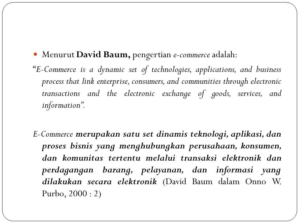 Menurut David Baum, pengertian e-commerce adalah: